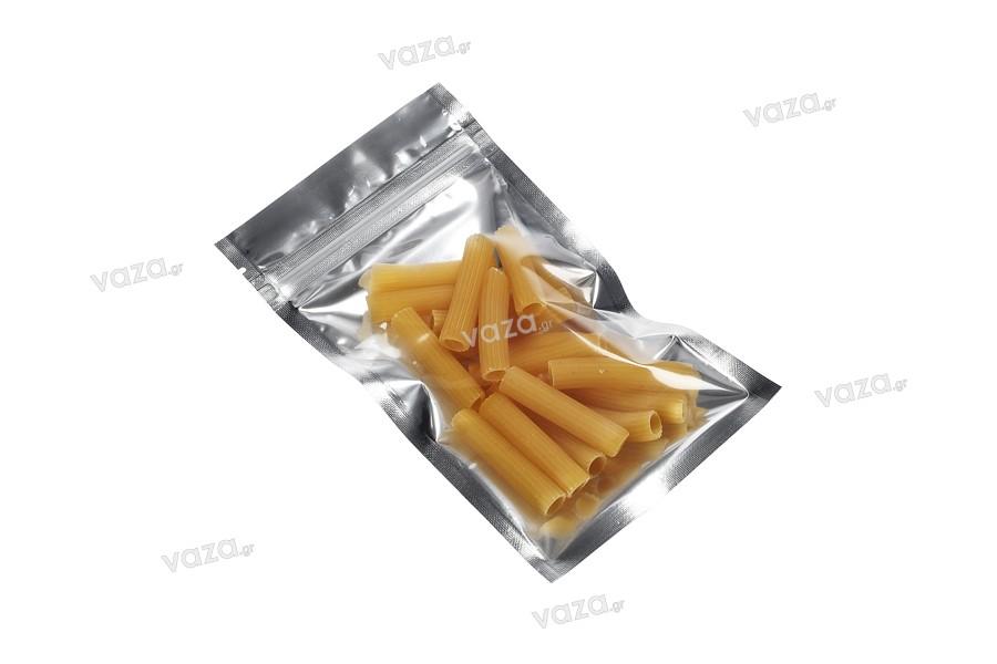 """Σακουλάκια αλουμινίου με κλείσιμο """"zip"""" 90x160 mm, διάφανη μπροστά πλευρά και δυνατότητα σφράγισης με θερμοκόλληση - 100 τμχ"""