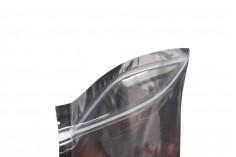 Sachet en plastique type Doypack avec fermeture à glissière, argenté à l'arrière et transparent au devant et avec la possibilité de thermocollage 200X50X300mm- paquet de 100 pièces