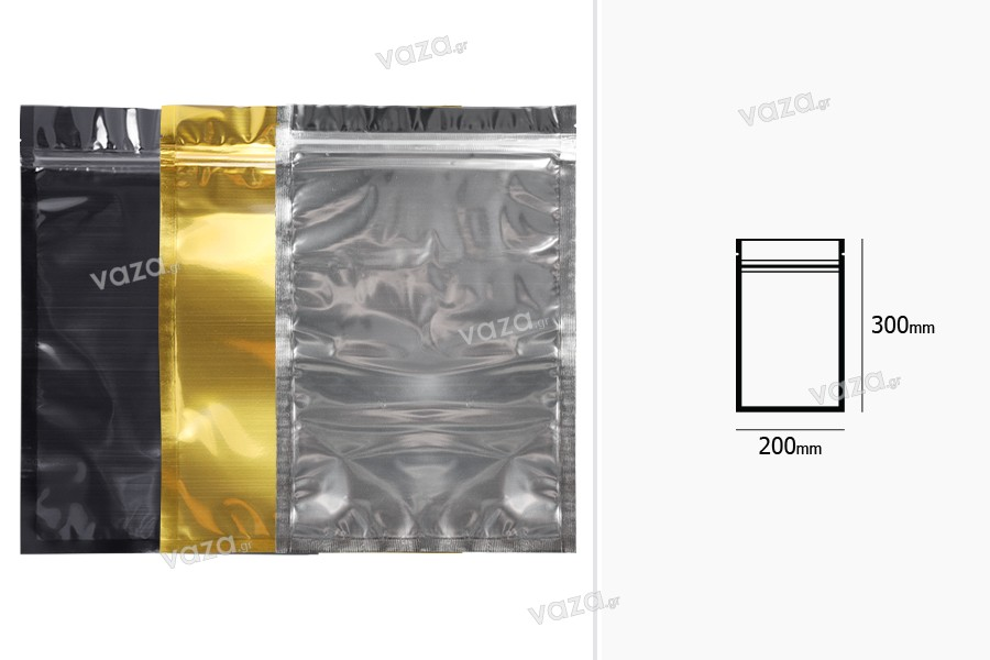 """Σακουλάκια αλουμινίου με κλείσιμο """"zip"""" 200x300 mm, διάφανη μπροστά πλευρά και δυνατότητα σφράγισης με θερμοκόλληση - 100 τμχ"""