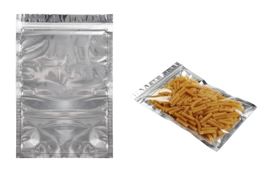 Sachet en plastique avec fermeture à glissière, argenté à l'arrière et transparent au devant et avec la possibilité de thermocollage 200X300mm- paquet de 100 pièces