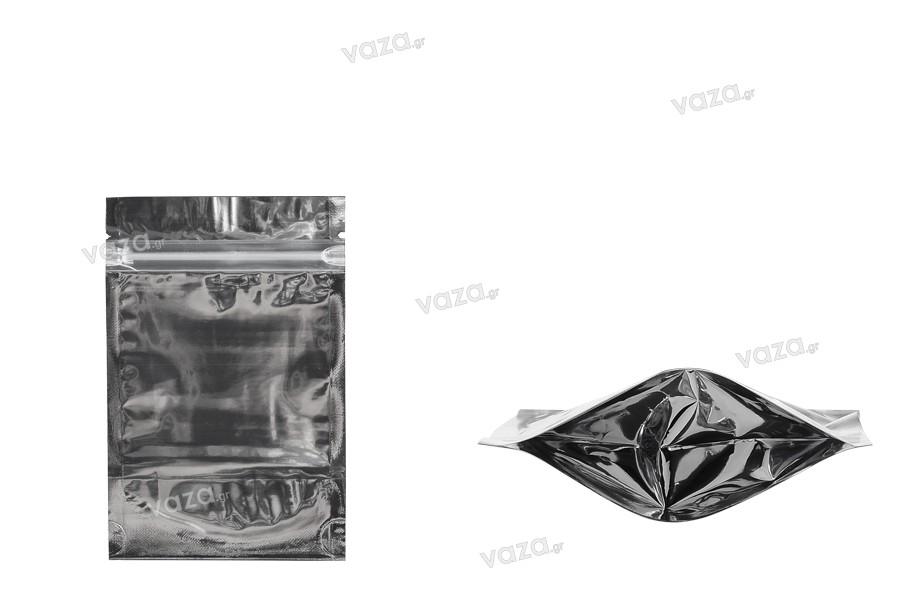 Sachet en plastique type Doypack avec fermeture à glissière, argenté à l'arrière et transparent au devant et avec la possibilité de thermocollage 90X30X140mm- paquet de 100 pièces