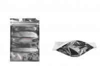 Sachet en plastique type Doypack avec fermeture à glissière, argenté à l'arrière et transparent au devant et avec la possibilité de thermocollage 100X30X150mm- paquet de 100 pièces