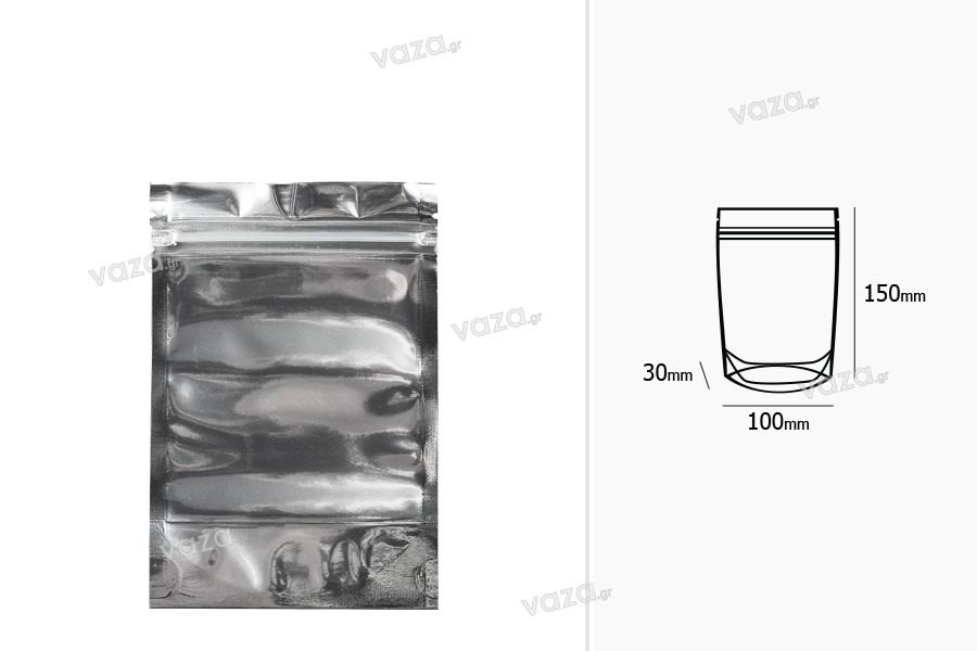"""Σακουλάκια τύπου Doy Pack 100x30x150 mm αλουμινίου πίσω πλευρά, διάφανο μπροστά με κλείσιμο """"zip"""" και δυνατότητα σφράγισης με θερμοκόλληση - 100 τμχ"""