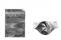 Sachet en plastique type Doypack avec fermeture à glissière, argenté à l'arrière et transparent au devant et avec la possibilité de thermocollage 120X40X170mm- paquet de 100 pièces