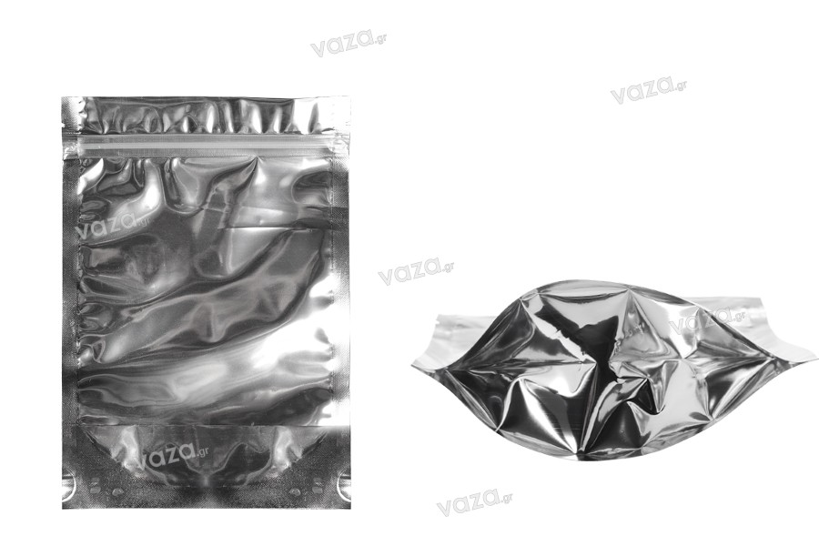 """Σακουλάκια τύπου Doy Pack 140x40x200 mm αλουμινίου πίσω πλευρά, διάφανο μπροστά με κλείσιμο """"zip"""" και δυνατότητα σφράγισης με θερμοκόλληση - 100 τμχ"""