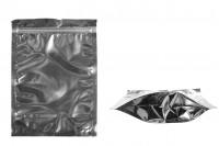 Sachet en plastique type Doypack avec fermeture à glissière, argenté à l'arrière et transparent au devant et avec la possibilité de thermocollage 180X40X250mm- paquet de 100 pièces