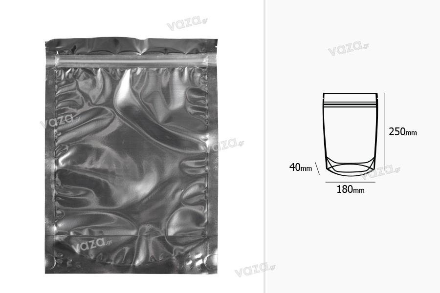 """Σακουλάκια τύπου Doy Pack 180x40x250 mm αλουμινίου πίσω πλευρά, διάφανο μπροστά με κλείσιμο """"zip"""" και δυνατότητα σφράγισης με θερμοκόλληση - 100 τμχ"""