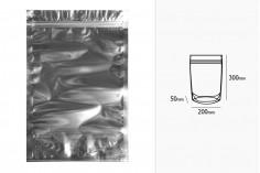 """Σακουλάκια τύπου Doy Pack 200x50x300 mm αλουμινίου πίσω πλευρά, διάφανο μπροστά με κλείσιμο """"zip"""" και δυνατότητα σφράγισης με θερμοκόλληση - 100 τμχ"""