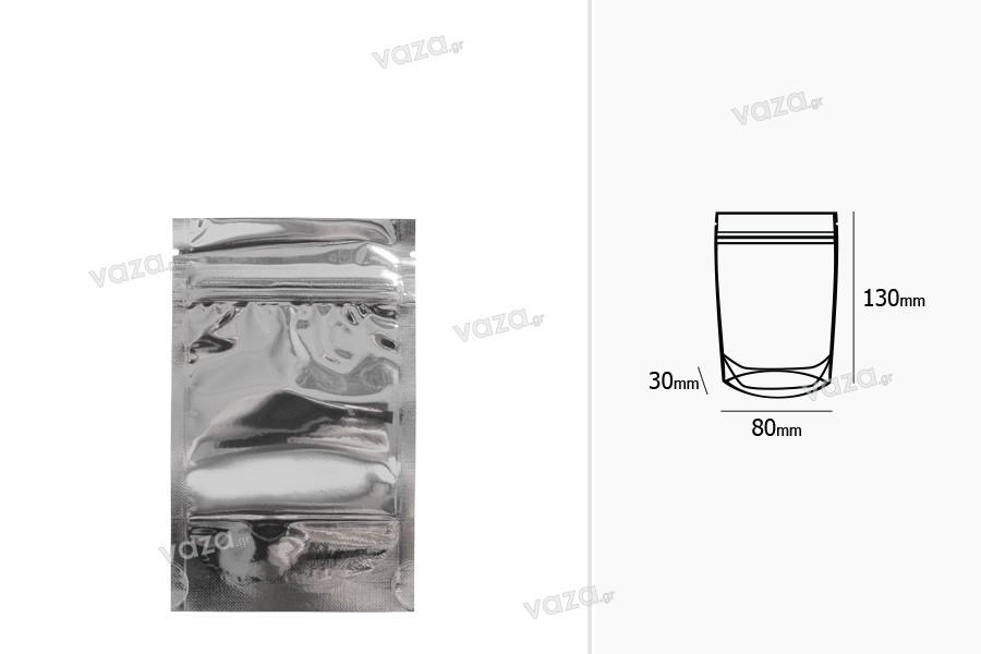 """Σακουλάκια τύπου Doy Pack 80x30x130 mm αλουμινίου πίσω πλευρά, διάφανο μπροστά με κλείσιμο """"zip"""" και δυνατότητα σφράγισης με θερμοκόλληση - 100 τμχ"""