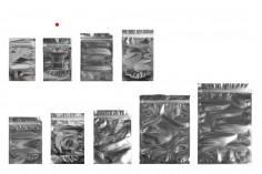 """Σακουλάκια τύπου Doy Pack 90x30x140 mm αλουμινίου πίσω πλευρά, διάφανο μπροστά με κλείσιμο """"zip"""" και δυνατότητα σφράγισης με θερμοκόλληση - 100 τμχ"""