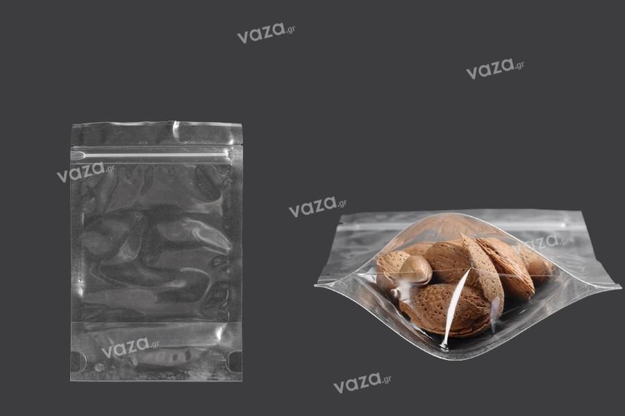 Σακουλάκια τύπου Doy Pack 120x30x180 mm διάφανα με κλείσιμο zip και δυνατότητα σφράγισης με θερμοκόλληση - 100 τμχ