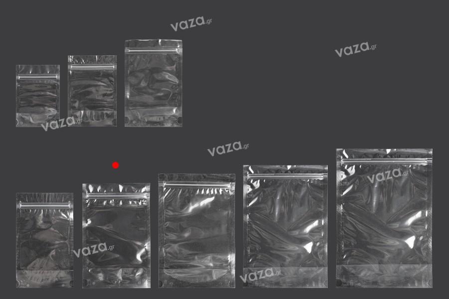 Σακουλάκια τύπου Doy Pack 140x40x220 mm διάφανα με κλείσιμο zip και δυνατότητα σφράγισης με θερμοκόλληση - 100 τμχ