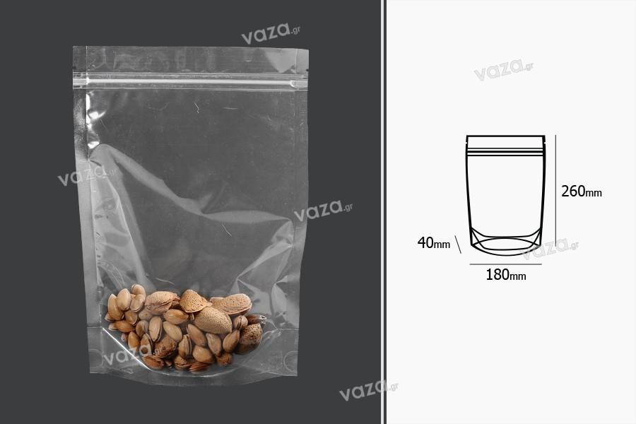 Σακουλάκια τύπου Doy Pack 180x40x260 mm διάφανα με κλείσιμο zip και δυνατότητα σφράγισης με θερμοκόλληση - 100 τμχ