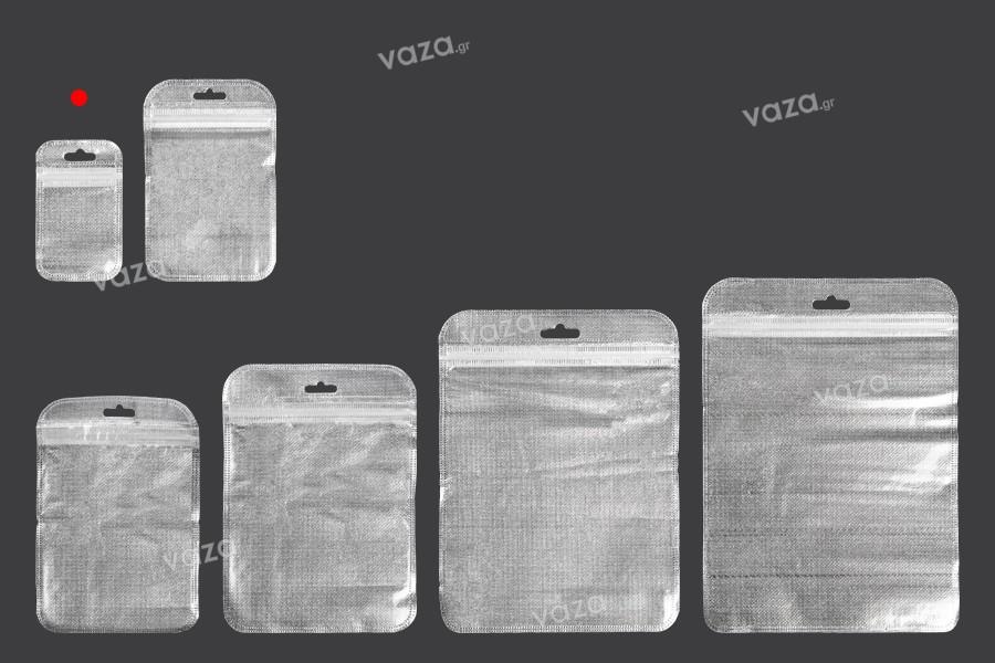 Σακουλάκια με κλείσιμο zip 55x90 mm, non woven ασημί πίσω όψη, διάφανο μπροστά και τρύπα eurohole - 100 τμχ