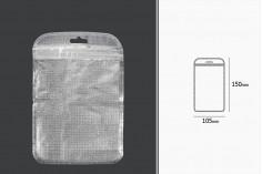Σακουλάκια με κλείσιμο zip 105x150 mm, non woven ασημί πίσω όψη, διάφανο μπροστά και τρύπα eurohole - 100 τμχ
