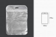 Σακουλάκια με κλείσιμο zip 122x170 mm, non woven ασημί πίσω όψη, διάφανο μπροστά και τρύπα eurohole - 100 τμχ