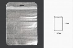 Σακουλάκια με κλείσιμο zip 160x220 mm, non woven ασημί πίσω όψη, διάφανο μπροστά και τρύπα eurohole - 100 τμχ