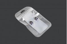 Σακουλάκια πλαστικά με κλείσιμο zip 105x150 mm ριγέ, διάφανα μπρος πίσω και τρύπα eurohole - 100 τμχ
