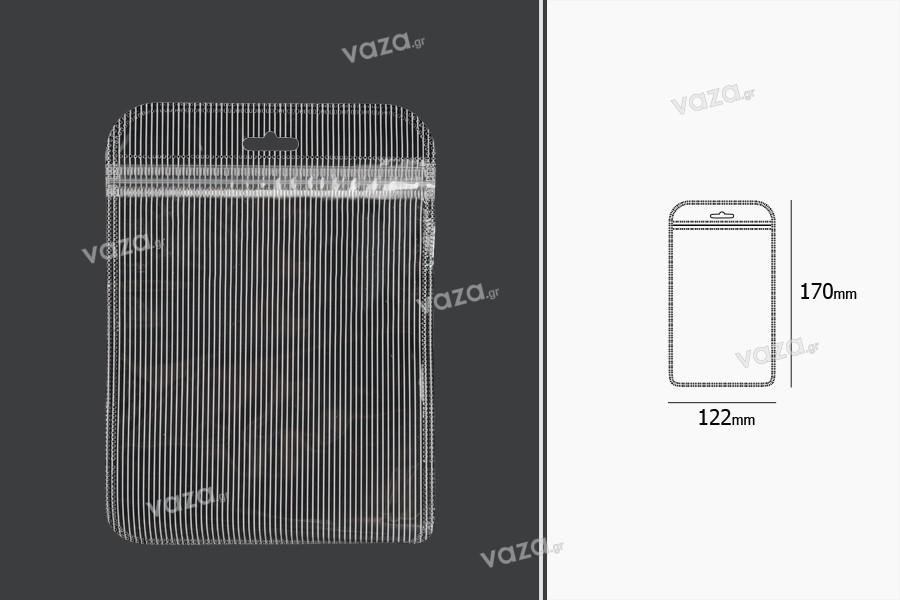 Σακουλάκια πλαστικά με κλείσιμο zip 122x170 mm ριγέ, διάφανα μπρος πίσω και τρύπα eurohole - 100 τμχ