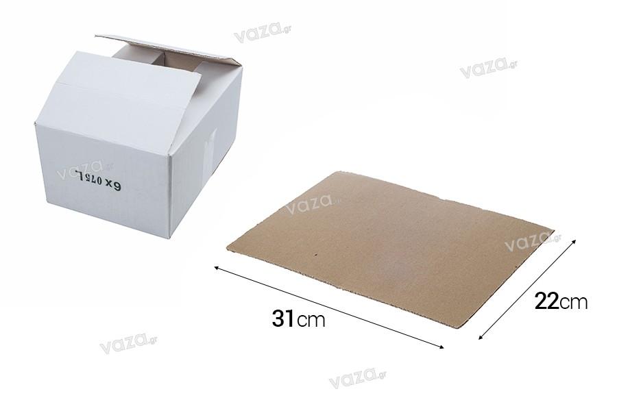 Πάτος για χαρτοκιβώτιο λευκό 3-φυλλο, για 6 φιάλες 700ml ή 750ml