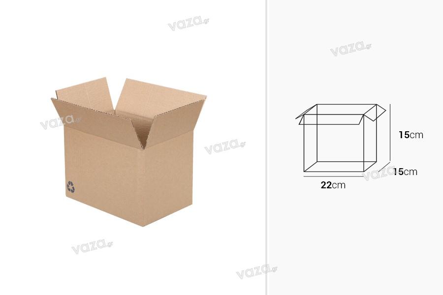 Χαρτοκιβώτιο 22x15x15 καφέ 3-φυλλο (No 12) - 25 τμχ