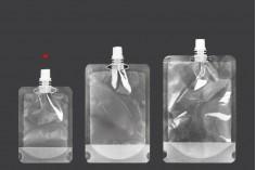Συσκευασία (ασκός) τύπου Doy Pack διάφανη 100 ml με λευκό καπάκι - 50 τμχ