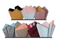 Papier d'emballage brillant 59x59 cm de différentes couleurs - 25 pcs