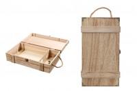 Boîte de rangement en bois pour 2 bouteilles de vin