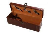 Étui de luxe pour vin en bois avec accessoires et revêtement en similicuir
