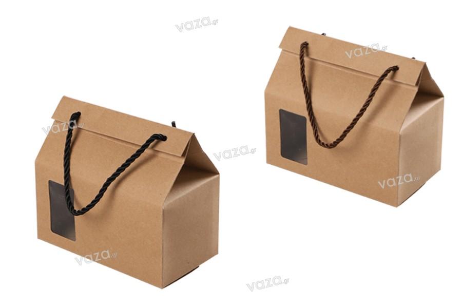 Κουτί - τσαντάκι κραφτ με παράθυρο και κορδόνι 180x100x160 - 20 τμχ