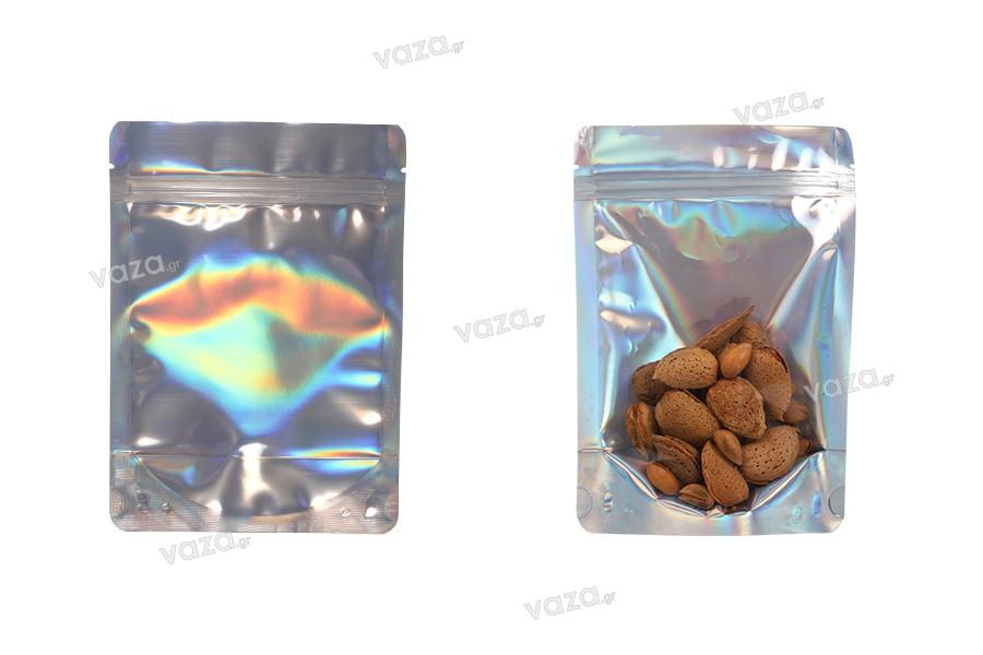 """Σακουλάκια αλουμινίου τύπου Doy Pack, διάφανα μπροστά με κλείσιμο """"zip"""" και δυνατότητα σφράγισης με θερμοκόλληση 140x40x200 mm - 50 τμχ"""