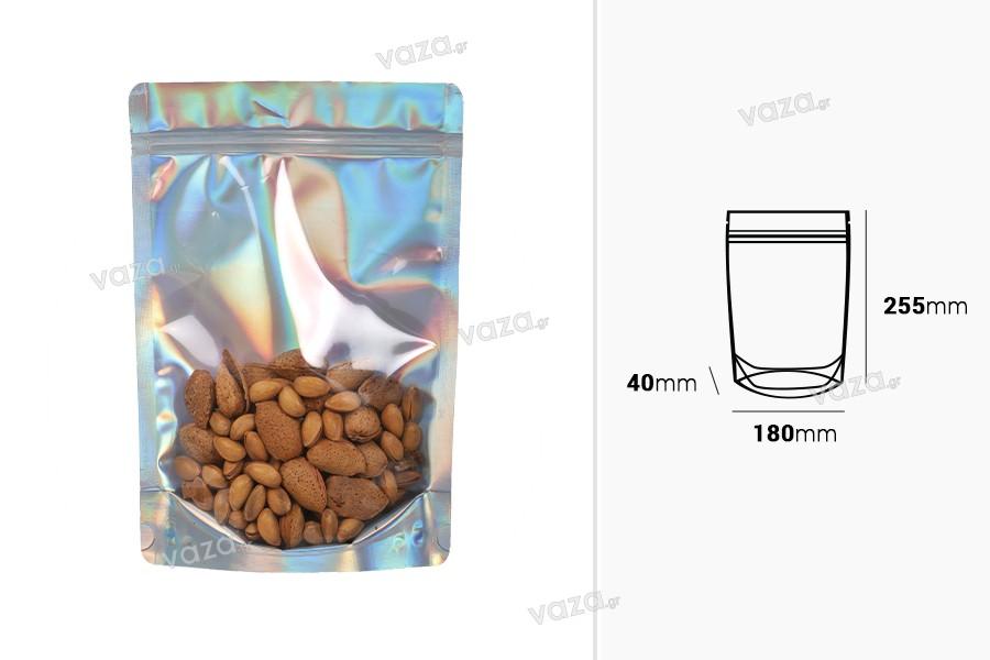 """Σακουλάκια αλουμινίου τύπου Doy Pack, διάφανα μπροστά με κλείσιμο """"zip"""" και δυνατότητα σφράγισης με θερμοκόλληση 180x40x255 mm - 50 τμχ"""