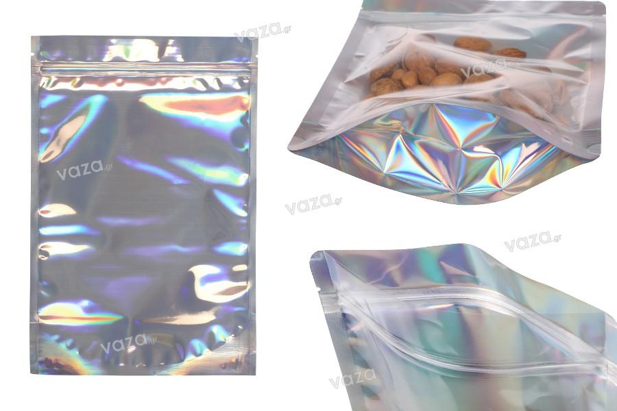 """Σακουλάκια αλουμινίου τύπου Doy Pack, διάφανα μπροστά με κλείσιμο """"zip"""" και δυνατότητα σφράγισης με θερμοκόλληση 200x50x300 mm - 50 τμχ"""