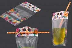 Συσκευασία τύπου Doy Pack 450 ml διάφανη με κλείσιμο zip και τρύπες για καλαμάκι και μεταφορά - 50 τμχ