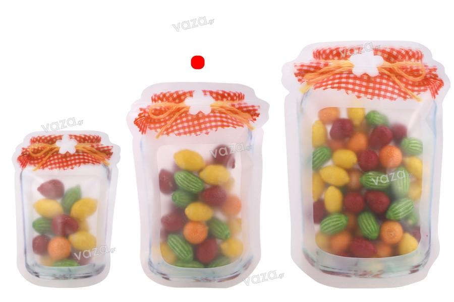 Σακουλάκια τύπου Doy Pack σε σχήμα βάζου 135x35x195 mm με κλείσιμο ''zip'' - 50 τμχ