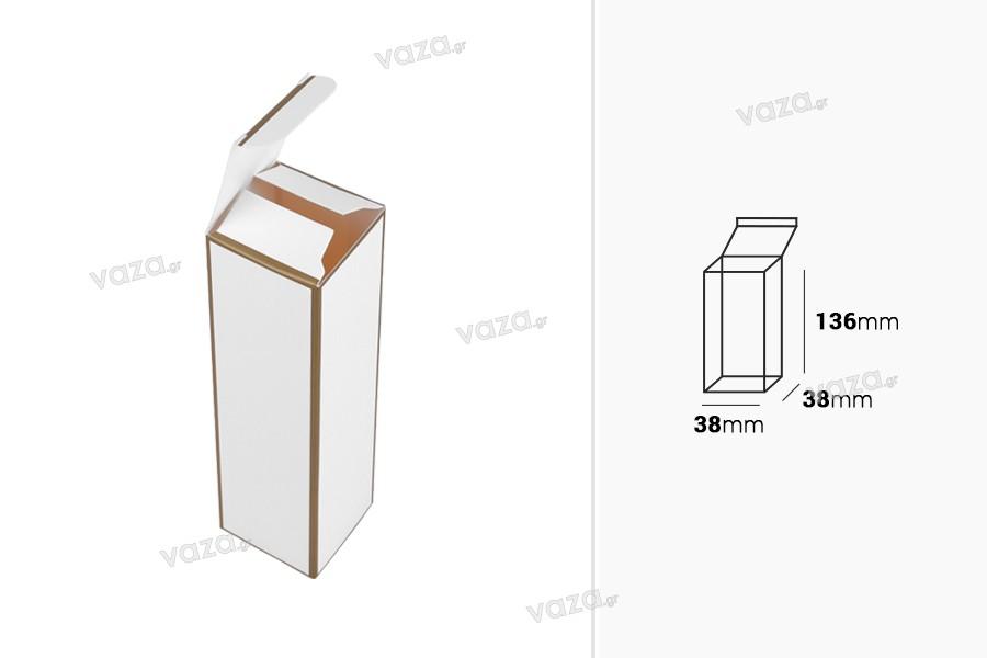 Κουτάκι χάρτινο 38x38x136 mm με χρυσό περίγραμμα - 20 τμχ