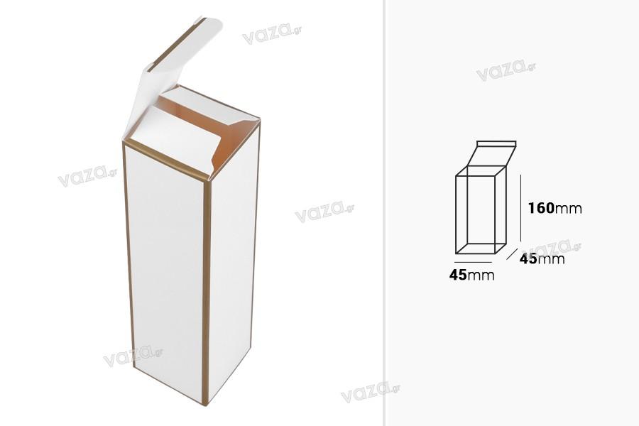 Κουτάκι χάρτινο 45x45x160 mm με χρυσό περίγραμμα - 20 τμχ