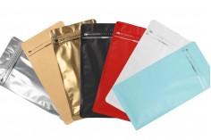 Σακουλάκια αλουμινίου τύπου Doy Pack, κλείσιμο με θερμοκόλληση, άνοιγμα με ταινία ασφαλείας και χρήση του zipper 135x75x265 mm - 25 τμχ