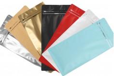 Σακουλάκια αλουμινίου τύπου Doy Pack, κλείσιμο με θερμοκόλληση, άνοιγμα με ταινία ασφαλείας και χρήση του zipper 150x95x325 mm - 25 τμχ