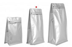 """Σακουλάκια αλουμινίου τύπου Doy Pack 135x75x265 mm με βαλβίδα, κλείσιμο """"zip"""" και δυνατότητα σφράγισης με θερμοκόλληση - 25 τμχ"""