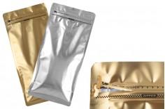 """Σακουλάκια αλουμινίου τύπου Doy Pack 150x95x325 mm με βαλβίδα, κλείσιμο """"zip"""" και δυνατότητα σφράγισης με θερμοκόλληση - 25 τμχ"""