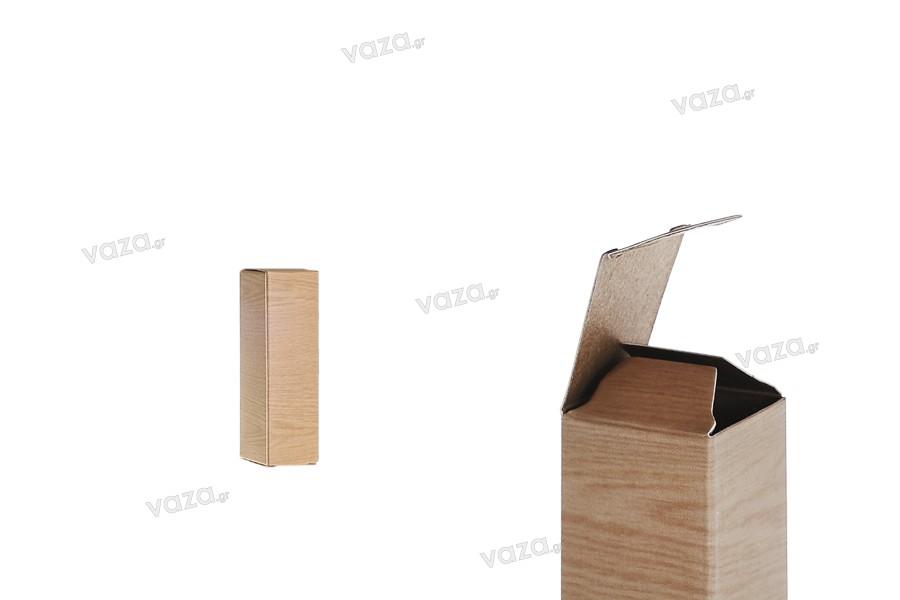 """Χάρτινο κουτάκι με τύπωμα σχέδιο """"ξύλου"""" 25x25x87 - 50 τμχ"""