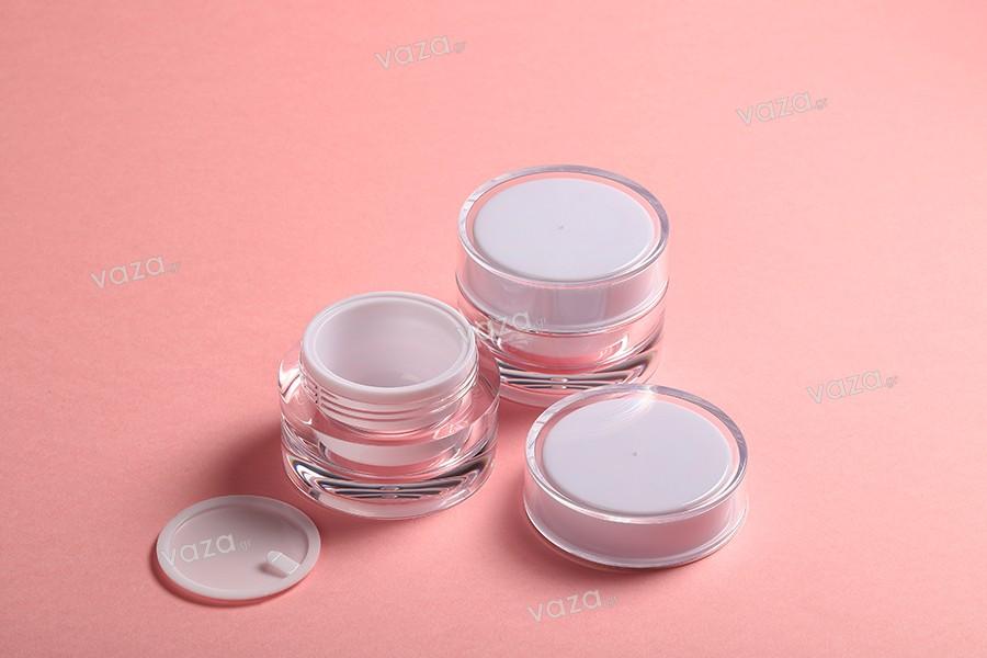 Pot de luxe rond en plastique acrylique de 30ml, avec couvercle et joint en plastique-paquet de 12 pièces