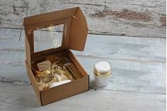 Κουτί συσκευασίας από χαρτί κραφτ με παράθυρο 170x170x50 mm - Συσκευασία 20 τμχ