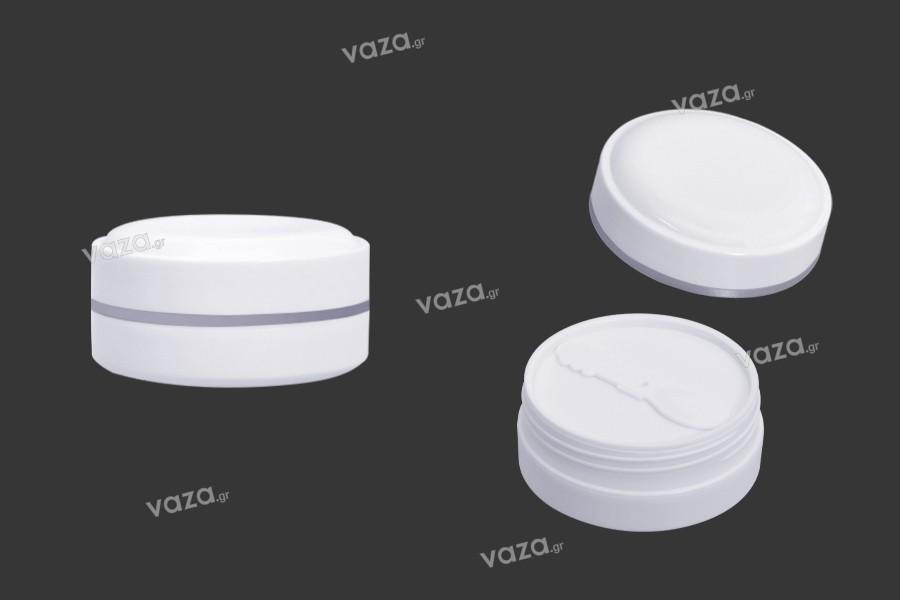 Βάζο 100 ml πλαστικό (PP) σε λευκό χρώμα με καπάκι, κουταλάκι και πλαστικό παρέμβυσμα - 12 τμχ
