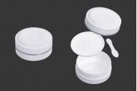 Pot de 100 ml en plastique (PP) de couleur blanche avec couvercle, cuillère à café et joint en plastique