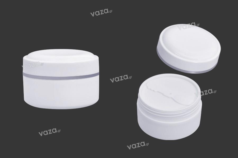 Βάζο 150 ml πλαστικό (PP) σε λευκό χρώμα με καπάκι, κουταλάκι και πλαστικό παρέμβυσμα - 12 τμχ