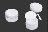 Pot en plastique de 150 ml (PP) de couleur blanche avec couvercle, cuillère à café et joint en plastique