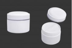 Βάζο 200 ml πλαστικό (PP) σε λευκό χρώμα με καπάκι, κουταλάκι και πλαστικό παρέμβυσμα - 12 τμχ