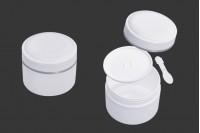 Pot en plastique de 200 ml (PP) de couleur blanche avec couvercle, cuillère à café et joint en plastique